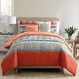 VCNY Home Ezra 4-Piece Reversible Twin XL Comforter Set in Burnt Orange/Aqua