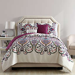VCNY Home Amherst 5-Piece Reversible King Comforter Set in White/Purple