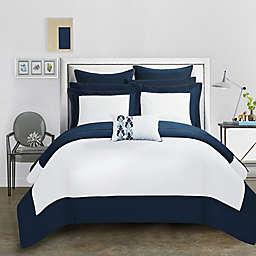 Chic Home Bathilda 7-Piece Twin Reversible Comforter Set in Navy
