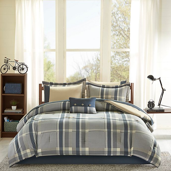 Alternate image 1 for Intelligent Design Robbie 9-Piece Full Comforter Set in Navy/Taupe