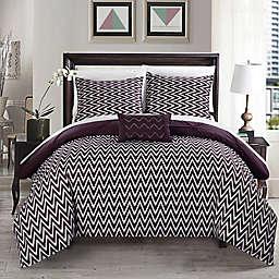 Chic Home Portia 4-Piece Reversible Full/Queen Comforter Set in Purple