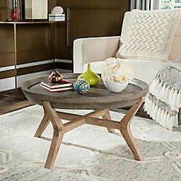 Safavieh Wynn 33.4-Inch Round  All-Weather Coffee Table in Dark Grey