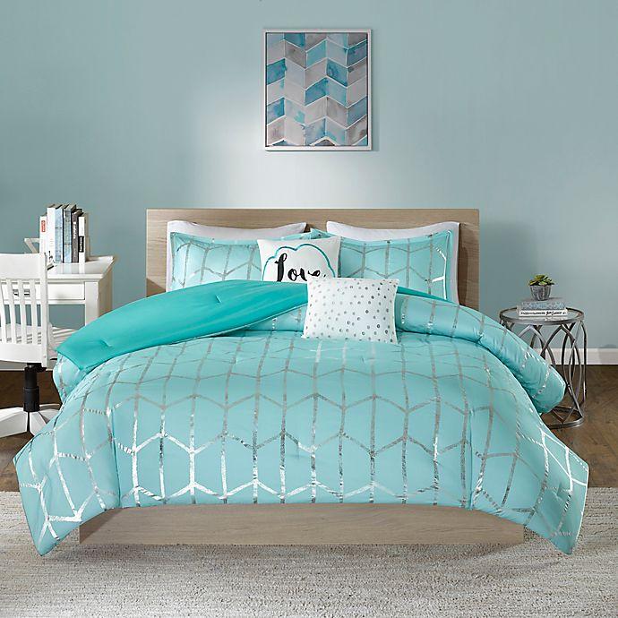 Alternate image 1 for Intelligent Design Raina 4-Piece Twin/Twin XL Comforter Set in Aqua/Silver