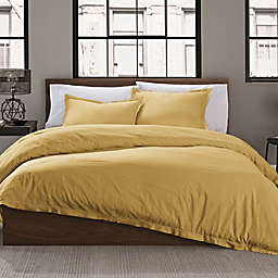 Garment Washed Solid Full/Queen Duvet Cover Set in Mustard