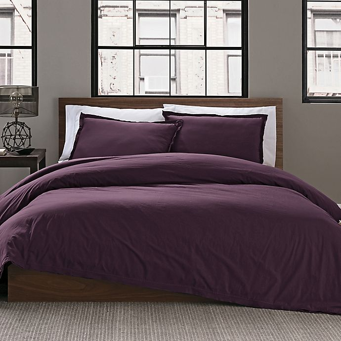 Alternate image 1 for Keeco Garment Washed Solid 2-Piece Twin/Twin XL Duvet Cover Set in Plum