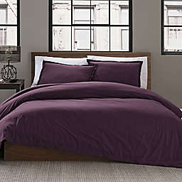 Keeco Garment Washed Solid 2-Piece Twin/Twin XL Duvet Cover Set in Plum