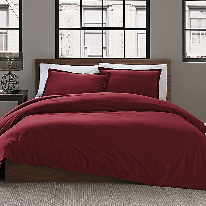 Alternate image 1 for Keeco Garment Washed Solid 2-Piece Twin/Twin XL Duvet Cover Set in Maroon