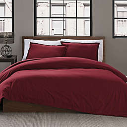 Keeco Garment Washed Solid 2-Piece Twin/Twin XL Duvet Cover Set in Maroon