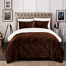 Chic Home Aurelia 2-Piece Twin XL Comforter Set in Brown