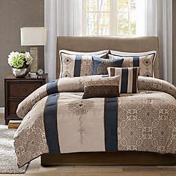 Madison Park Donovan 7-Piece California King Comforter Set in Navy