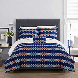 Chic Home Cortes Reversible Queen Duvet Cover Set in Blue