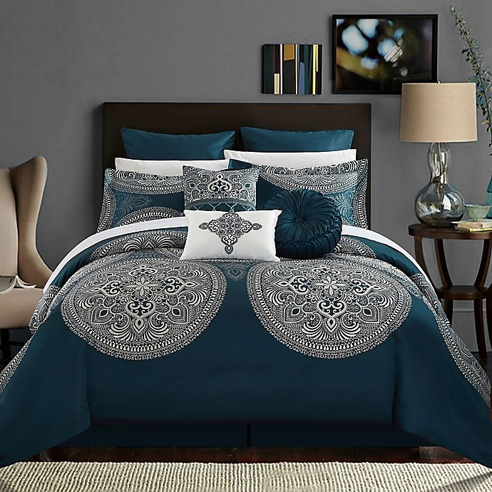 Alternate image 1 for Chic Home Lira 13-Piece Queen Comforter Set in Blue