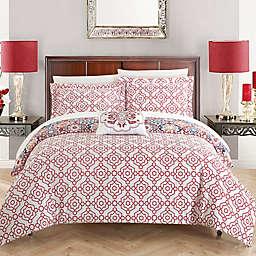 Chic Home Linden Reversible Queen Duvet Cover Set in Pink