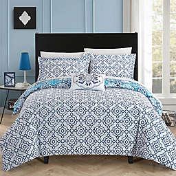 Chic Home Linden Reversible Queen Duvet Cover Set in Blue