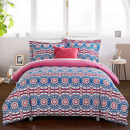Chic Home Kaori 8-Piece Reversible Full Duvet Cover Set in Fuchsia