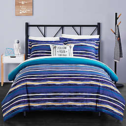 Chic Home Rodel Twin XL 6-Piece Reversible Duvet Set in Blue