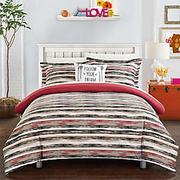 Chic Home Rodel 3-Piece Twin Reversible Duvet Cover Set in Brick