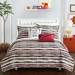 Chic Home Arvin 5-Piece Reversible Full Quilt Set in Brick