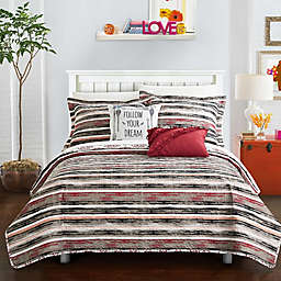 Chic Home Arvin 7-Piece Reversible Twin XL Quilt Set in Brick