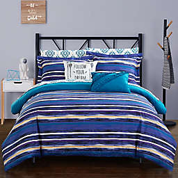 Chic Home Chelsea 9-Piece Full Reversible Comforter Set in Blue