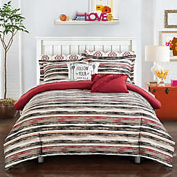 Chic Home Chelsea 7-Piece Twin Reversible Comforter Set in Brick