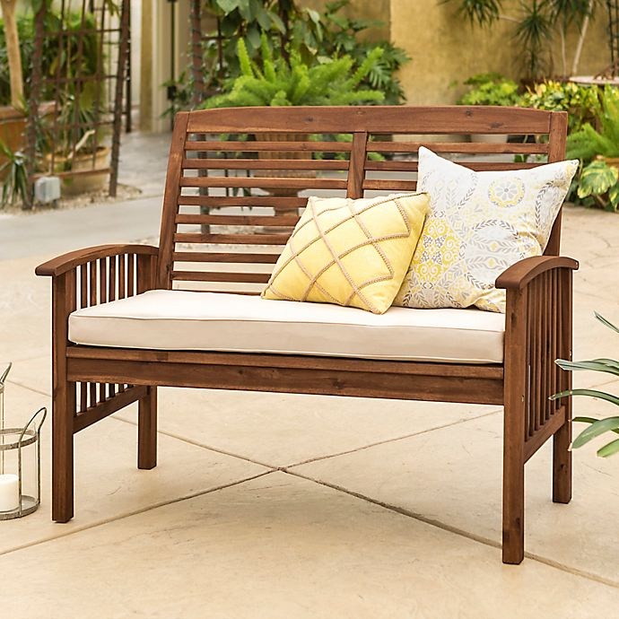 Alternate image 1 for Forest Gate Eagleton Acacia Loveseat Bench with Cushion