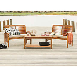 Forest Gate Eagleton 3-Piece Acacia Patio Chat Set in Brown