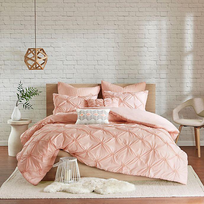 Alternate image 1 for Urban Habitat Talia 7-Piece Elastic Embroidered Chambray King/California King Duvet Set in Pink