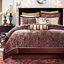 Madison Park Aubrey Reversible 12-Piece King Comforter Set in Red