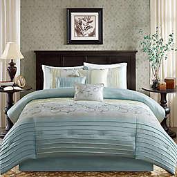 Madison Park Serene 7-Piece King Comforter Set in Aqua
