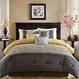 Madison Park Serene 7-Piece Queen Comforter Set in Yellow