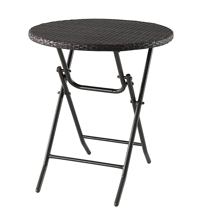 Alternate image 1 for All-Weather Wicker Folding Bistro Table