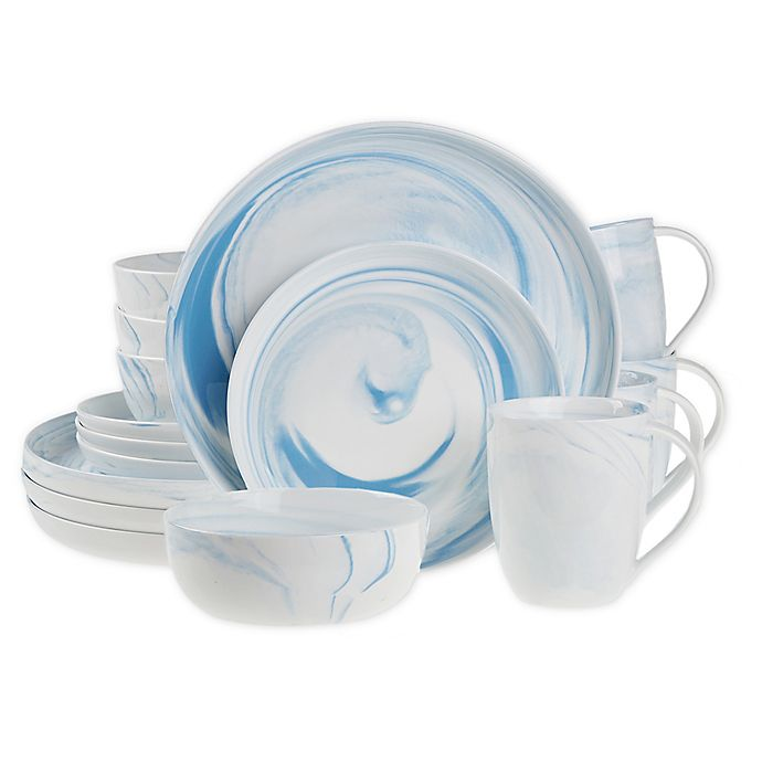 Alternate image 1 for Artisanal Kitchen Supply® Coupe Marbleized 16-Piece Dinnerware Set in Blue