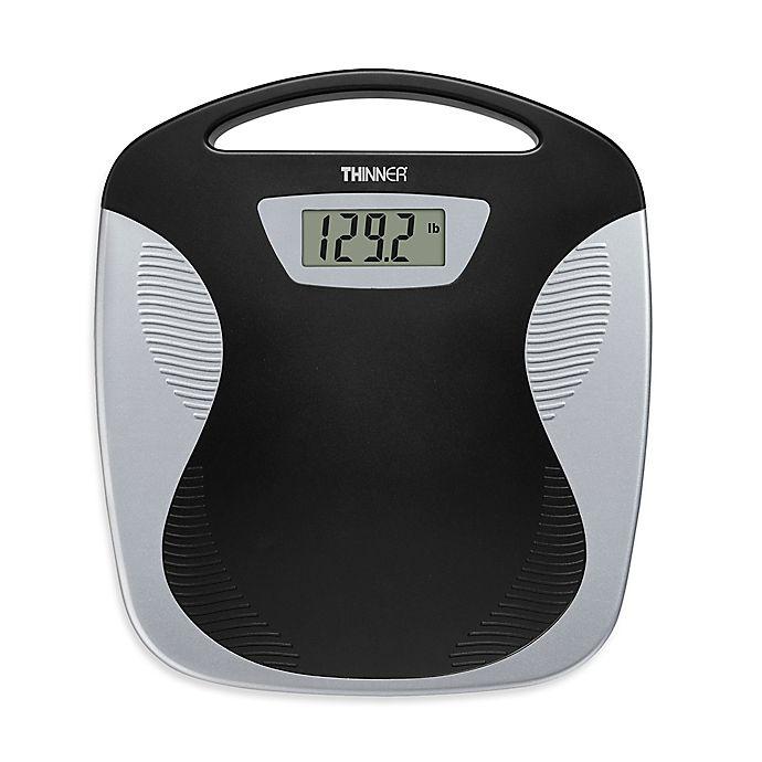 Alternate image 1 for Conair® Thinner® Portable Digital Bathroom Scale in Black/Silver