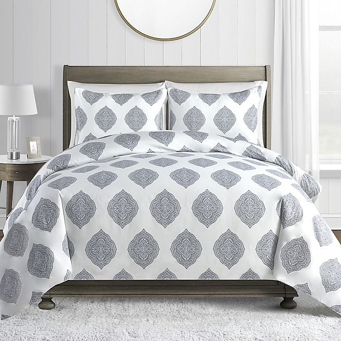 Alternate image 1 for Medallion 450-Thread-Count Cotton Sateen 2-Piece Twin Duvet Cover Set in Blue