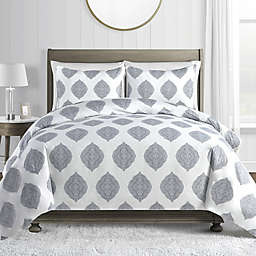 Medallion 450-Thread-Count Cotton Sateen 2-Piece Twin Duvet Cover Set in Blue