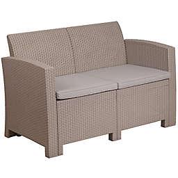 Flash Furniture All-Weather Faux Rattan Loveseat in Beige