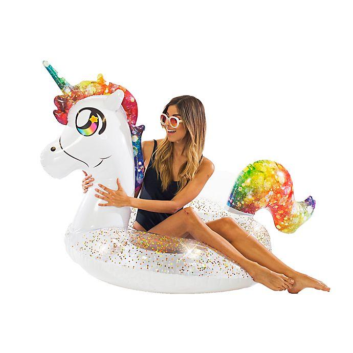 Alternate image 1 for Pool Candy Glitterfied Rainbow Unicorn Pool Float