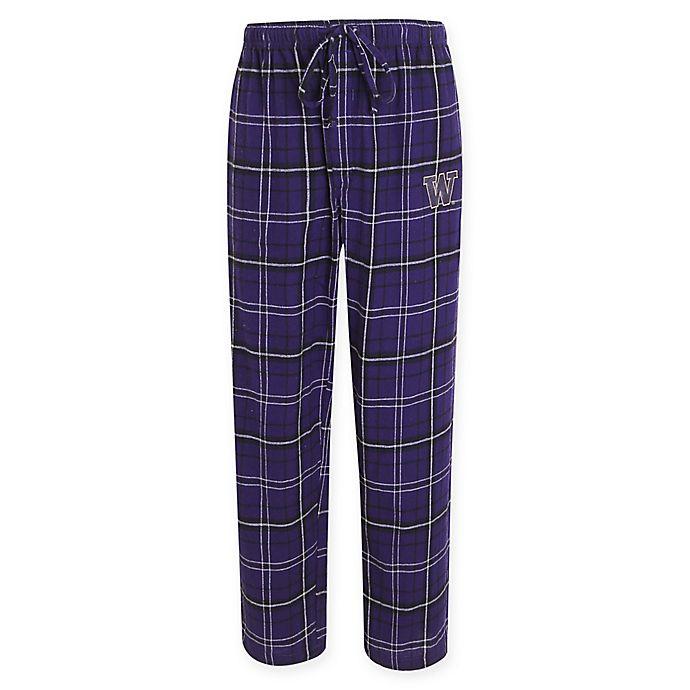 Alternate image 1 for University of Washington Men's Flannel Plaid Pajama Pant with Left Leg Team Logo