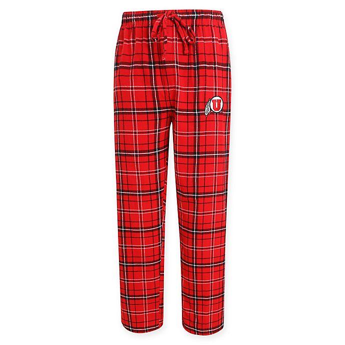 Alternate image 1 for University of Utah Men's Flannel Plaid Pajama Pant with Left Leg Team Logo