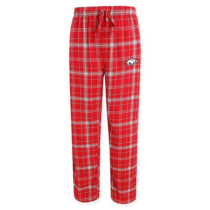 Alternate image 1 for University of Arkansas Men's Large Flannel Plaid Pajama Pant with Left Leg Team Logo