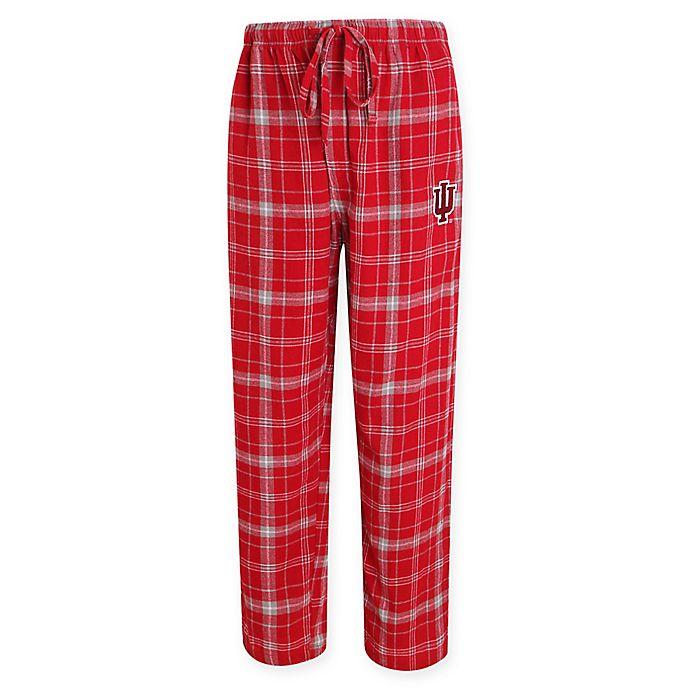 Alternate image 1 for Indiana University Men's Flannel Plaid Pajama Pant with Left Leg Team Logo