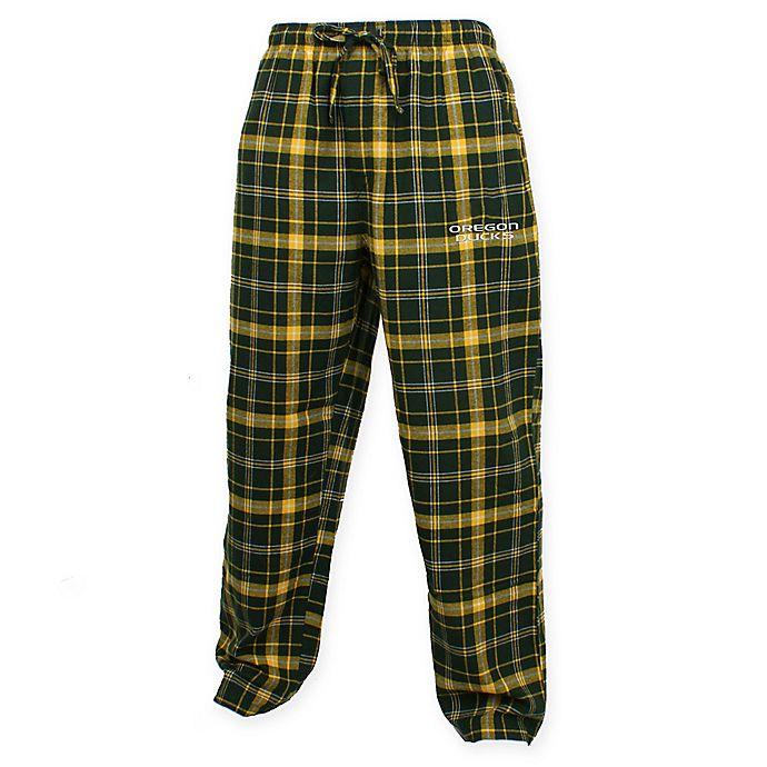 Alternate image 1 for University of Oregon Men's Flannel Plaid Pajama Pant with Left Leg Team Logo