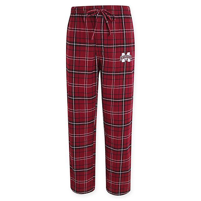 Alternate image 1 for Mississippi State University Men's Flannel Plaid Pajama Pant with Left Leg Team Logo
