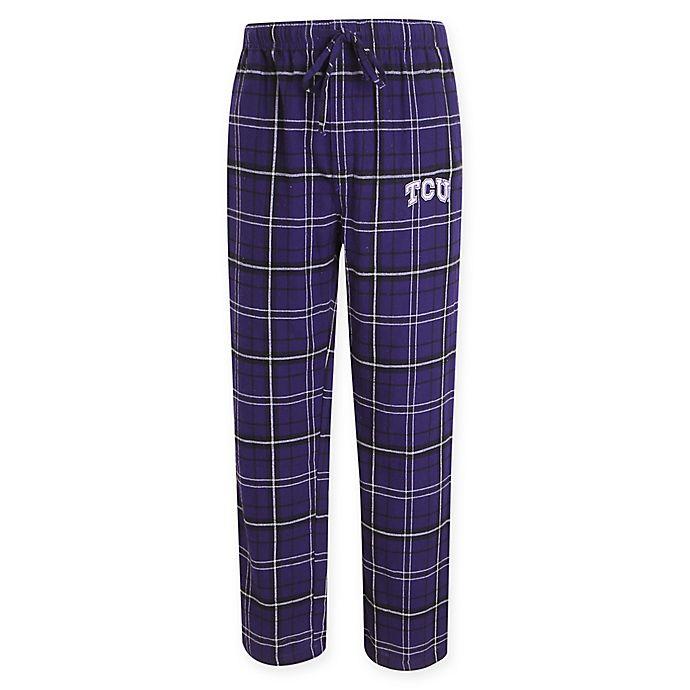 Alternate image 1 for Texas Christian University Men's Flannel Plaid Pajama Pant with Left Leg Team Logo