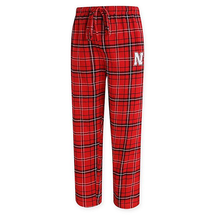 Alternate image 1 for University of Nebraska Men's Flannel Plaid Pajama Pant with Left Leg Team Logo