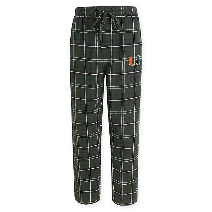 Alternate image 1 for University of Miami Men's Flannel Plaid Pajama Pant with Left Leg Team Logo