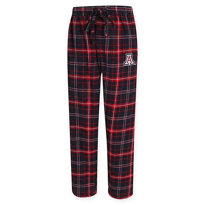 Alternate image 1 for University of Arizona Men's Flannel Plaid Pajama Pant with Left Leg Team Logo