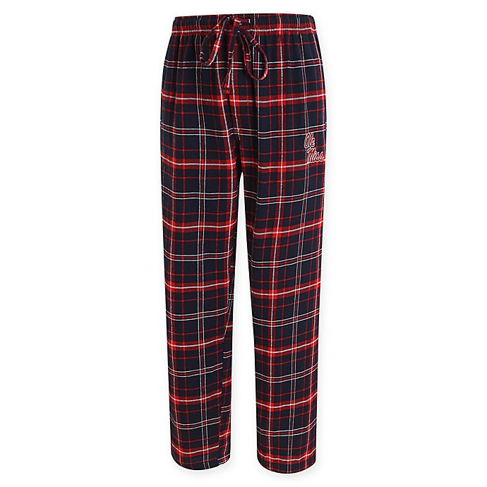 Alternate image 1 for University of Mississippi Men's Flannel Plaid Pajama Pant with Left Leg Team Logo