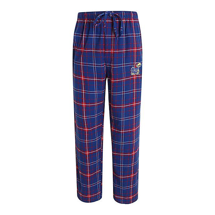 Alternate image 1 for University of Kansas Men's Flannel Plaid Pajama Pant with Left Leg Team Logo